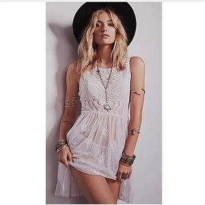 Free People Dresses & Skirts - Free people white sheer geo embroidered dress