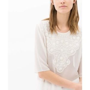  Zara white ecru embroidered chiffon tunic top