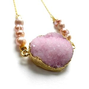 Pink Druzy Necklace Pearl Necklace Boho jewelry
