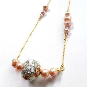 Unique Fresh water pink pearl golf necklace new
