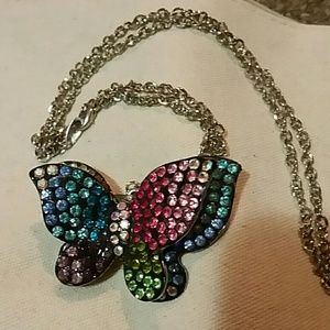 3D bedazzled butterfly necklace colorful ombre