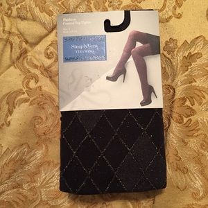 Simply Vera Vera Wang Accessories - Simply Vera Wang Black w/Gold Lurex Argyle Tight.