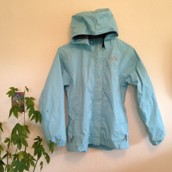 72% off North Face Outerwear - Light blue North Face rain jacket ...