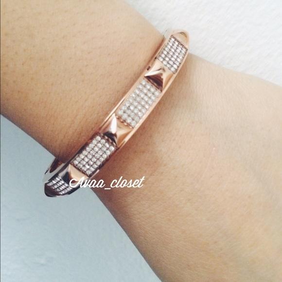 f35f4d2ab0e24 Michael Kors RoseGold Studded Pave Bangle Bracelet