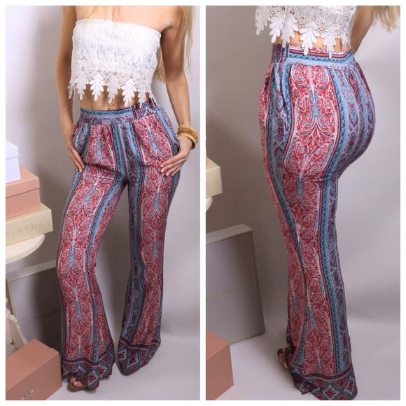 dab4da47fae25 Boutique Pants | Turquoise Red Paisley Print Boho Flare | Poshmark