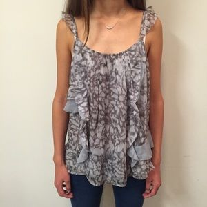 HP[joie] grey silk patterned ruffle cami