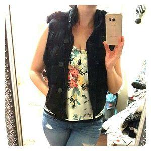 Black Arizona Hooded Puffer Vest