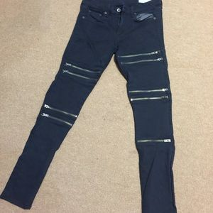 Rag and bone jeans with zippers