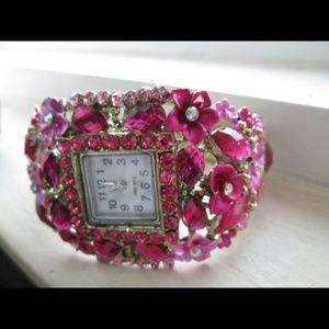 Urban Prestige  Jewelry - Pink Floral cuff watch NWT