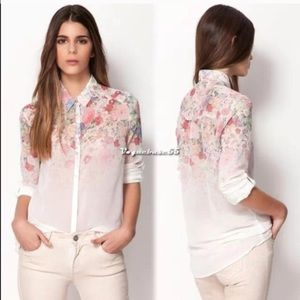 Printed white chiffon sheer shirt!