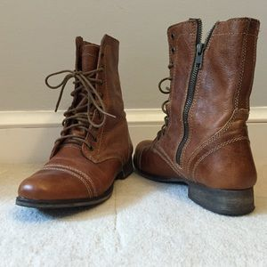 Steve Madden Combat Boots - Cognac Leather