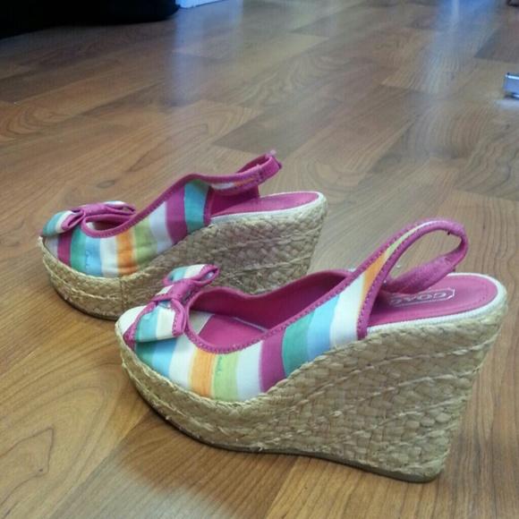 87 coach shoes new coach multi color wedge sandals