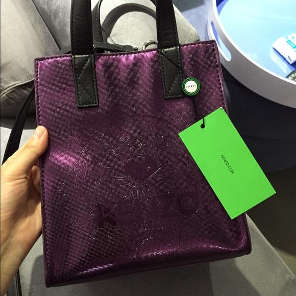 a17a1b42e2 Kenzo Bags | Metallic Pvc Tiger Tote Bag Prune Small Nwt | Poshmark