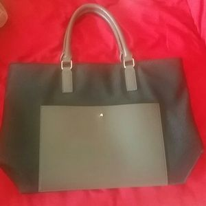 Black and grey tote purse