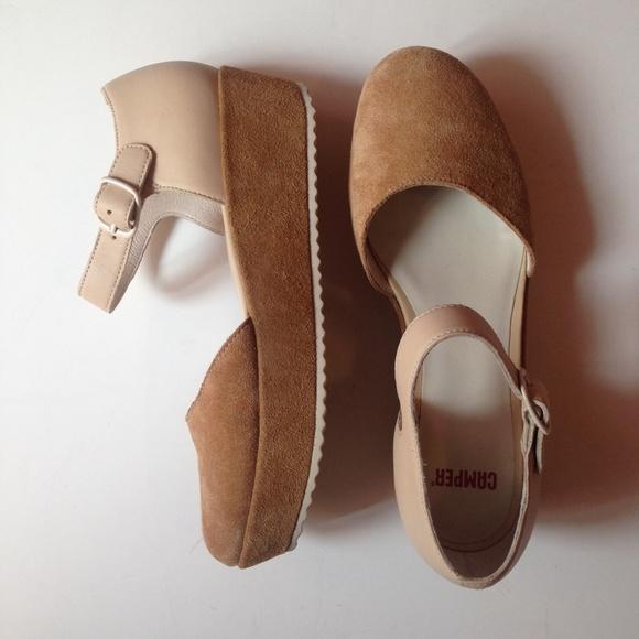 5a37a65b043 camper Shoes - Camper Platform Leather Suede Sandals Shoes