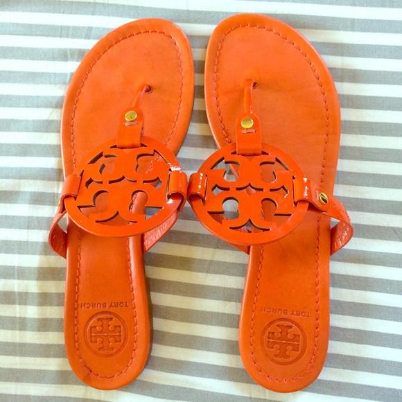6794a11c9f10f Tory Burch Miller sandals orange patent! 9. M 556619919818291c580166cf