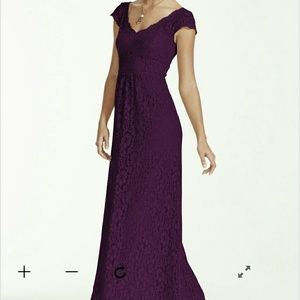 Lace overlay bridesmaid dress in plum