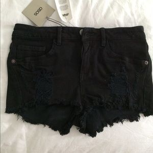 ASOS Black Denim High Waisted Cheeky Short 0