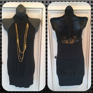 Knit Black Halter Top with gold  Necklace size S