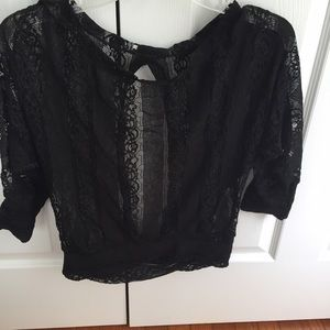 Tops - Black Open back lace top