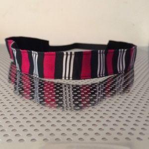 Pink & white stripe non-slip headband