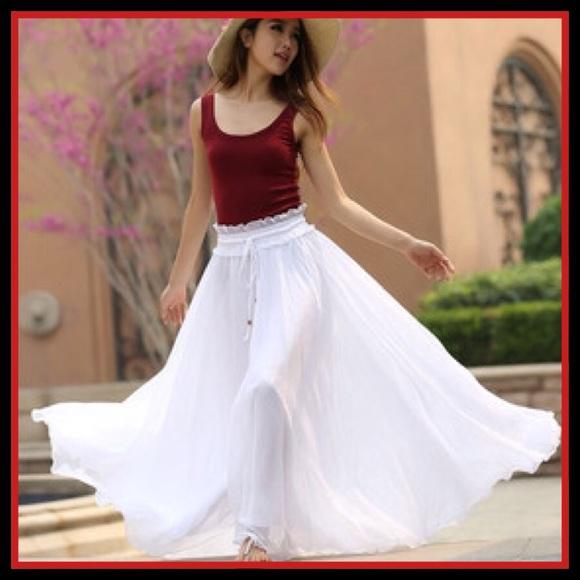 White Flowy Maxi Skirt
