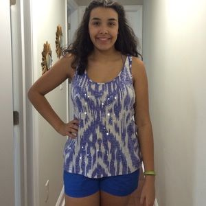 Blue and white print sequin J.Crew tank