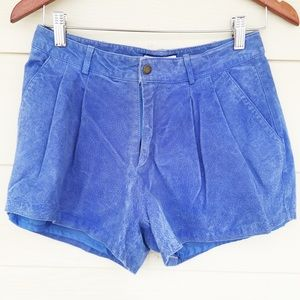 Pants - Blue leather high waist shorts