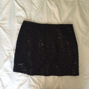 J. Crew Black Sequin Mini-Skirt