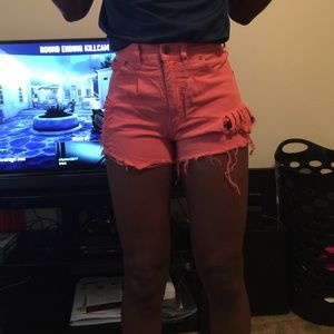 Pink distressed, high waisted shorts