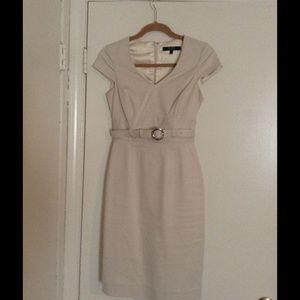 Cream belted dress