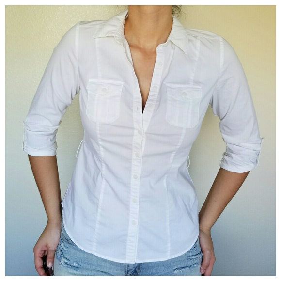 Worthington Tops - Bright White Button Down w/ Two Chest Pockets