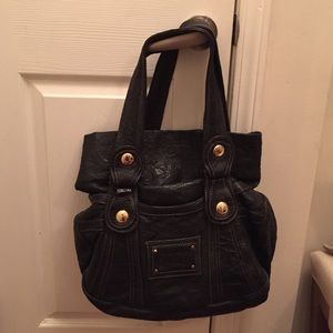 Gustto Handbags - Gusto Black with Gold Stitch Slouchy Handbag