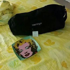 TRADE Monroe plate, Bloomingdale's duffle bag