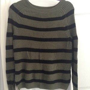 Olive and navy striped sweater
