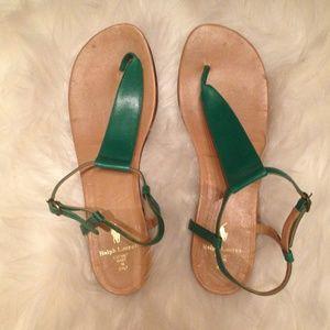 Ralph Lauren Grass Green leather Thong Sandals.