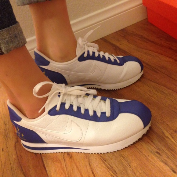 royal blue and white nike cortez