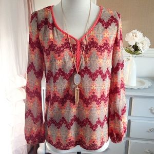 Bohemian Neon Orange Tribal Print Blouse