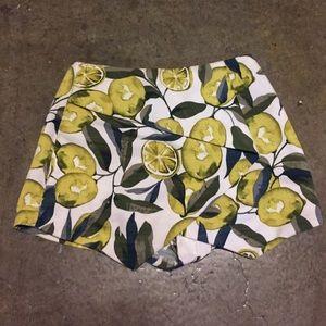 Topshop petit lemon lime print skirt/shorts skort