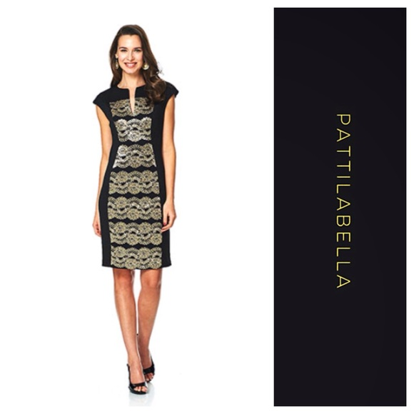 Connected Apparel Dresses Black Plus Size Sheath Dress With Gold