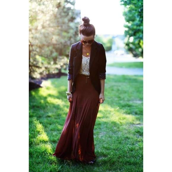 80% off Lily White Dresses & Skirts - Burgundy Maxi Skirt from ...