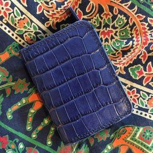 Handbags - Navy/Royal Blue Croc Coin Purse Wallet