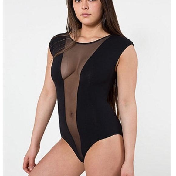 American Apparel Tops - American apparel Mesh center bodysuit b086e6ac8