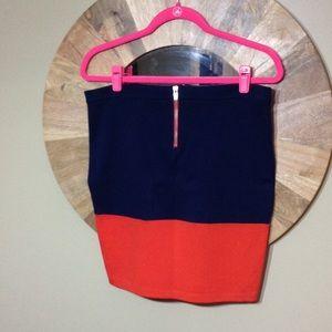 Orange and Navy Zipper Pencil Skirt