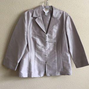 Talbots Evening Silver Gray Silk Blouse NWOT