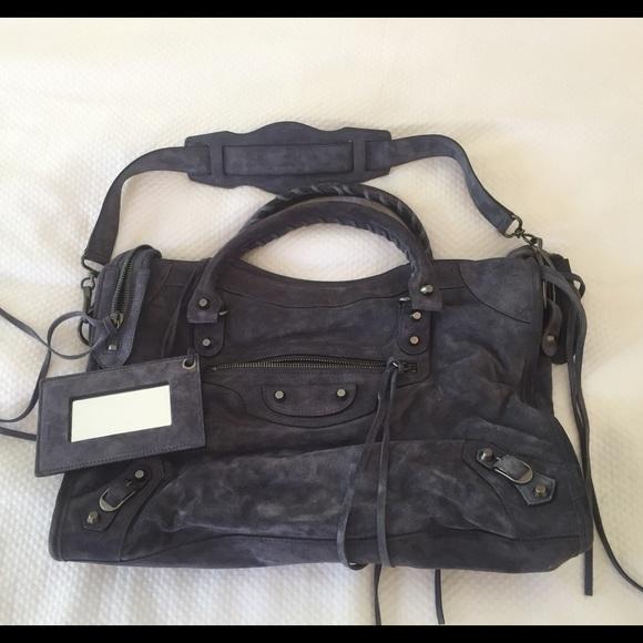 96a7af08db4c Balenciaga Handbags - Balenciaga City Bag in Navy Suede