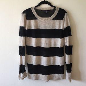 Gap cream & black striped sweater