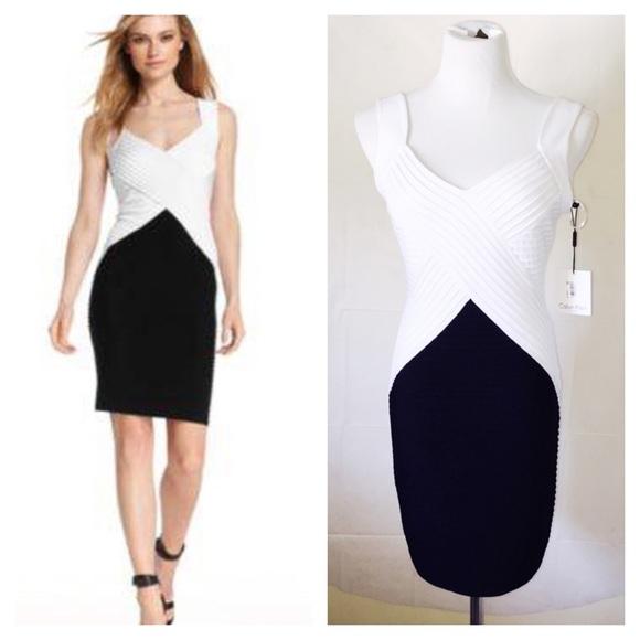 Calvin Klein Dresses Hp Gorgeous Black White Bandage Cocktail