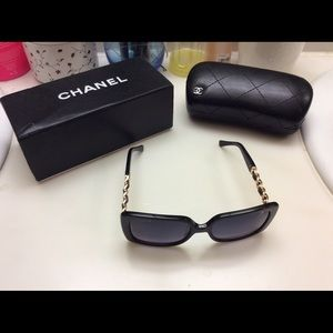 CHANEL SUNGLASSES AUTHENTIC FRAME GOLD CHAIN