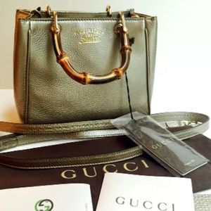 NWT Authentic Gucci Bamboo Gold Leather Mini Bag!